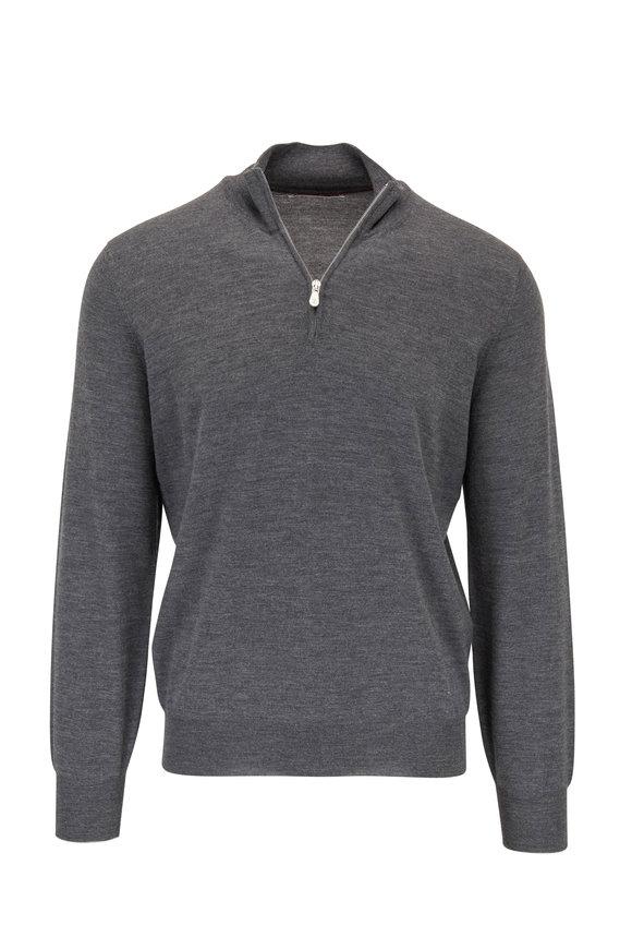 Brunello Cucinelli Charcoal Gray Cashmere Quarter-Zip Pullover
