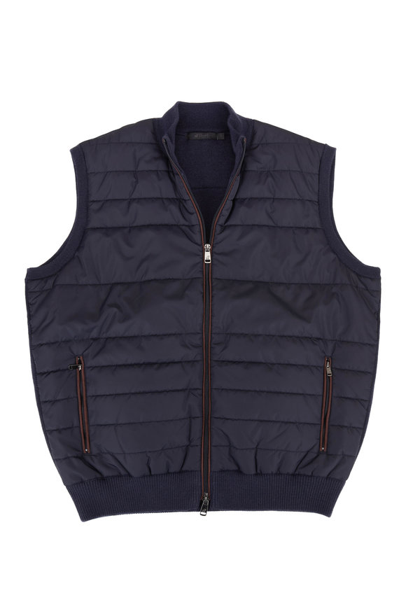 Raffi  Navy Quilted Wool Front Vest