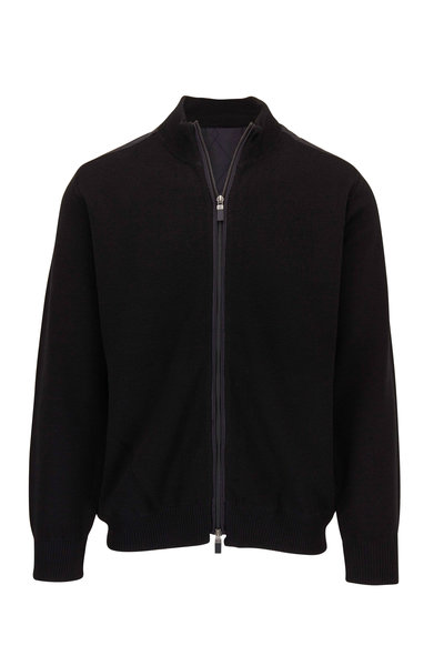 Raffi - Black Knit & Quilted Bomber Jacket