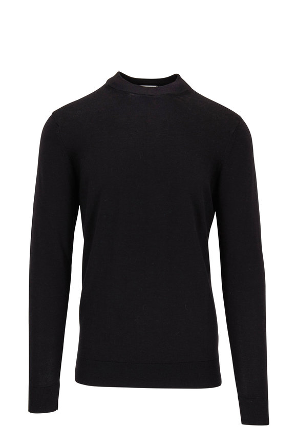 Sunspel Black Fine Merino Wool Mock Neck Sweater