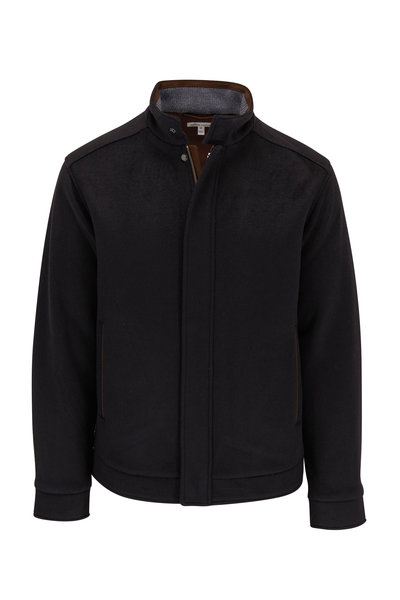 Peter Millar - Black Flex-Fleece Bomber Jacket