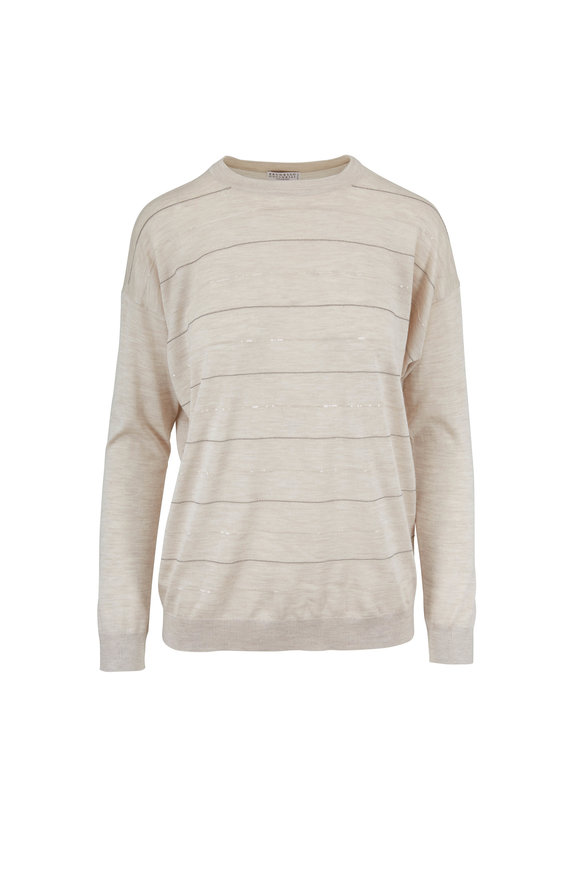 Brunello Cucinelli Exclusively Ours! Oyster Monili & Pialette Sweater