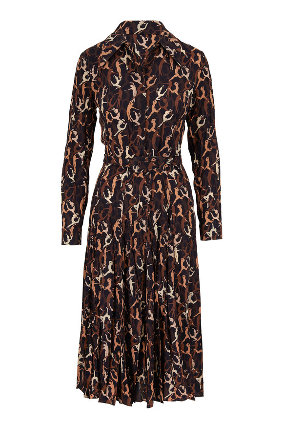 Michael Kors Collection Suntan Multi Silk Modern Dance Print Shirtdress
