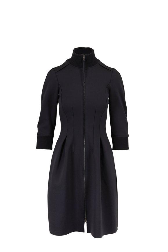 Dorothee Schumacher Scuba Glam Black Zip Front Dress