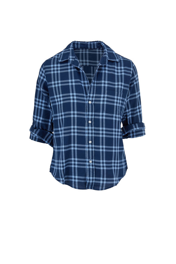 Frank & Eileen Barry Navy & Sky Blue Grid Button Down