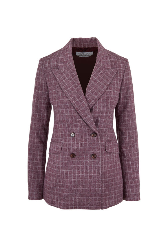 Gabriela Hearst Angela Mulberry Check Wool Double-Breasted Jacket