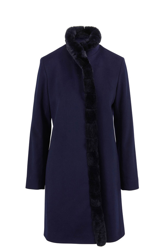 Fleurette Navy Wool & Fur Front Coat