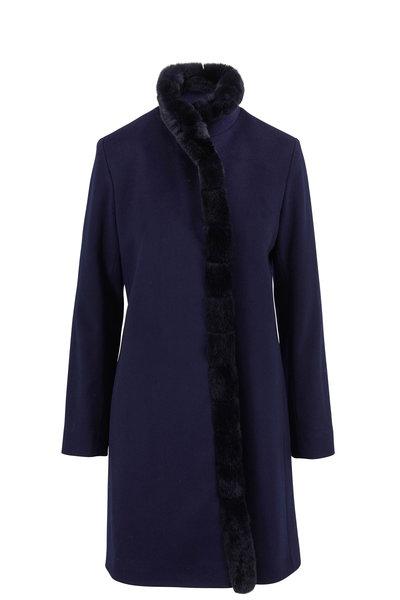 Fleurette - Navy Wool & Fur Front Coat
