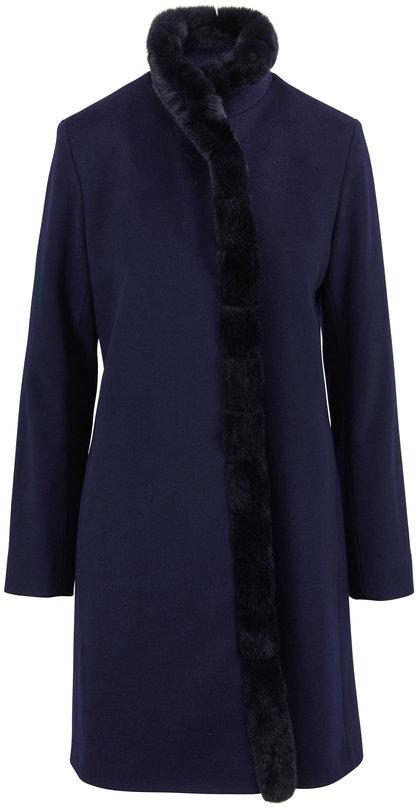 Fleurette Navy Wool & Fur Front Coat