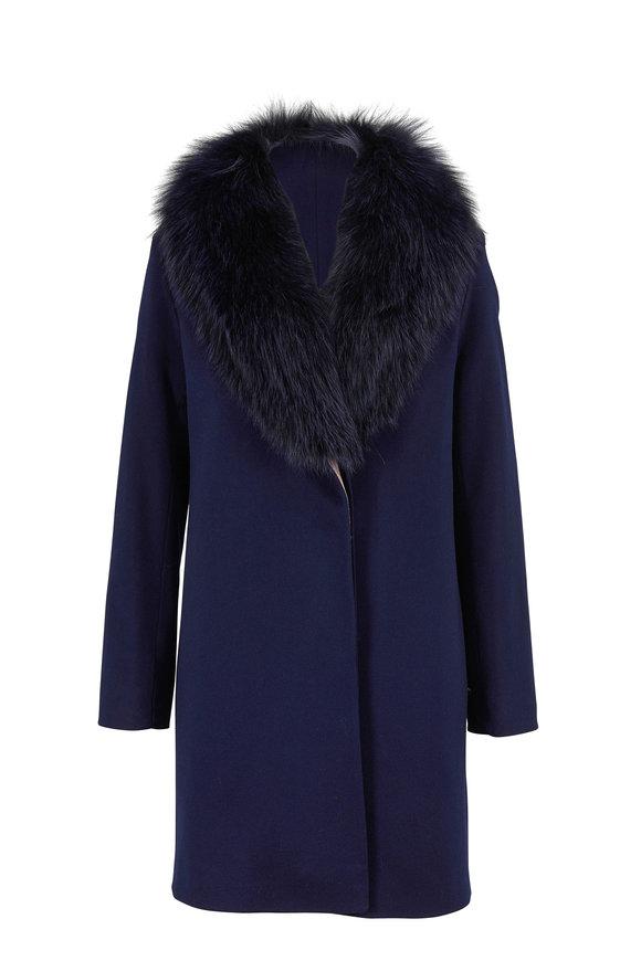 Fleurette Midnight Blue Wool Fur Shawl Collar Coat