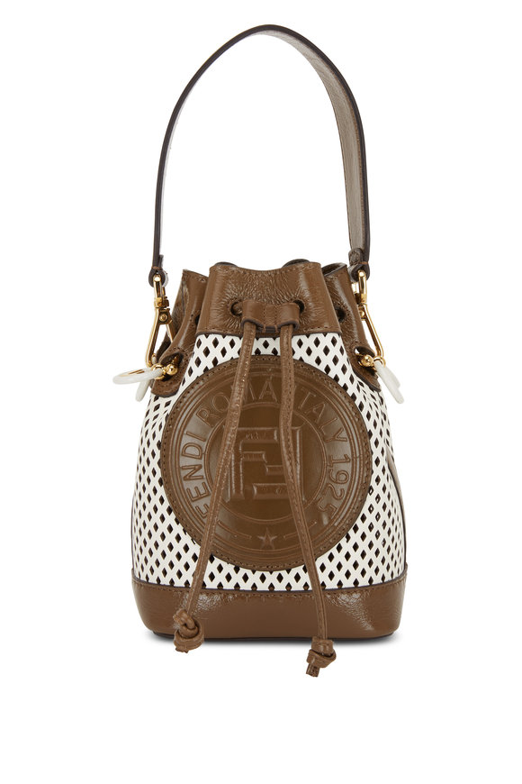 Fendi Mon Tresor Brown & White Perforated Mini Bag