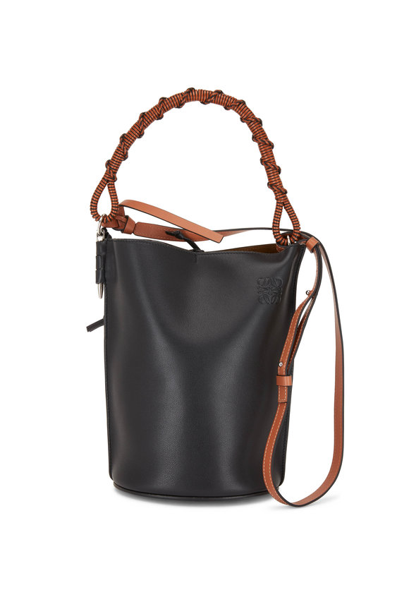 Loewe Black Leather Woven Handle Bucket Bag