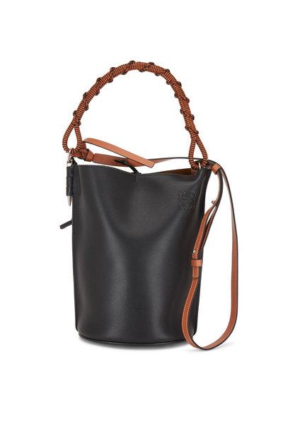 Loewe - Black Leather Woven Handle Bucket Bag