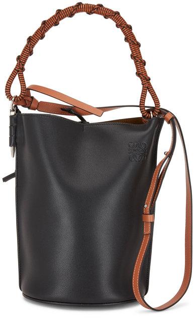 Loewe Black Leather Woven Handle Bucket Bag