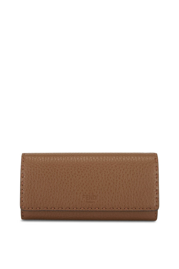 Fendi Mudd Leather Continental Wallet