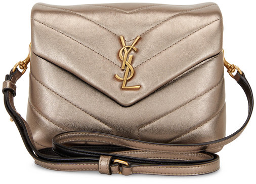 Saint Laurent Monogram Gunmetal Lame Light Pouch Crossbody