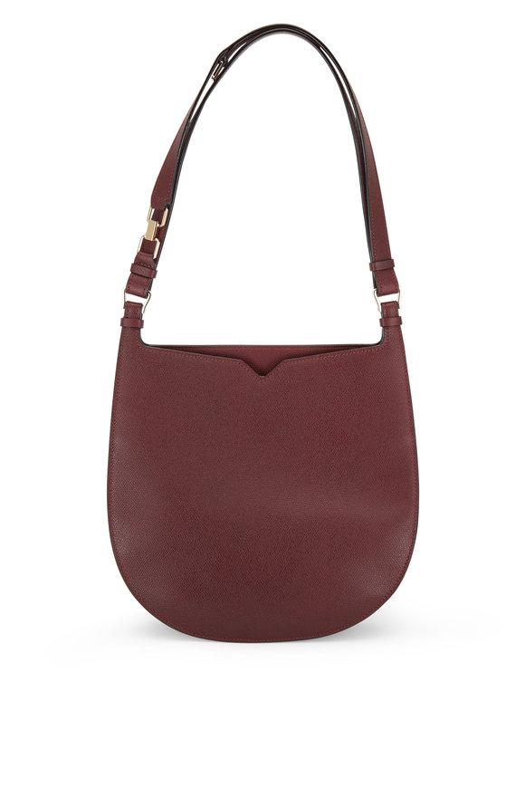Valextra Weekend Bordeaux Saffiano Convertible Hobo Bag