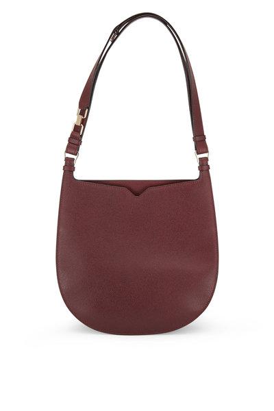 Valextra - Weekend Bordeaux Saffiano Convertible Hobo Bag