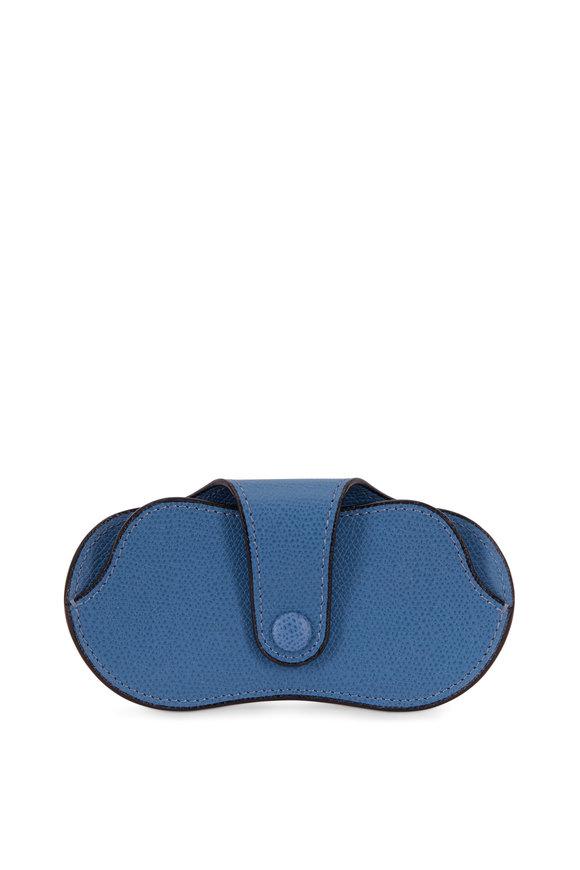Valextra Occhia Blue Saffiano Leather Eyeglass Case