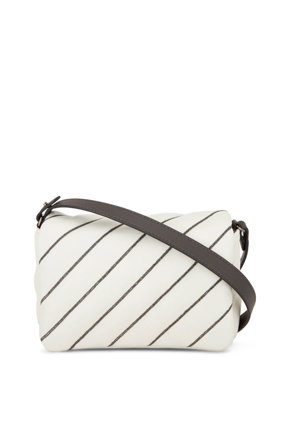 Brunello Cucinelli White Leather Monili Quilted Small Crossbody