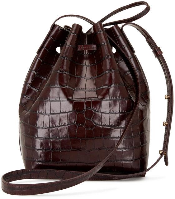 Mansur Gavriel Dark Brown Croc Embossed Leather Mini Bucket Bag