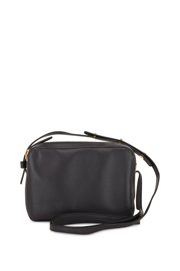 Mansur Gavriel Double-Zip Black Leather Small Crossbody Bag