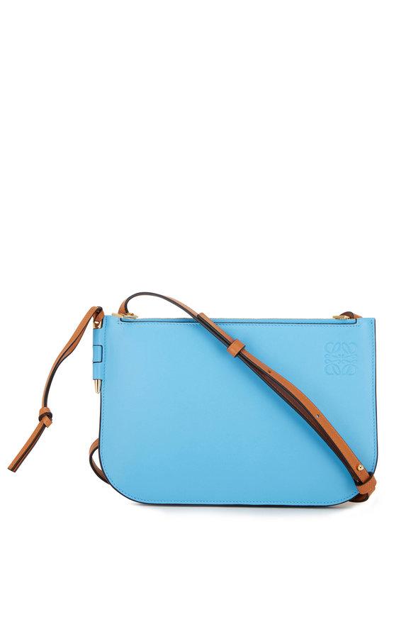 Loewe Gate Double Zip Tan & Blue Leather Pouch Crossbody