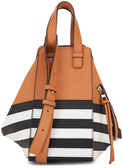 Loewe Hammock Taupe With Black & White Stripe Small Bag