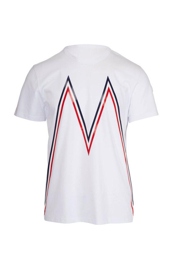 "Moncler White ""M"" Logo T-Shirt"