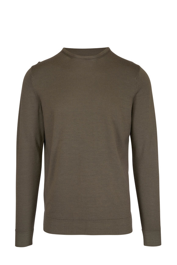 Sunspel Military Green Fine Merino Wool Sweater