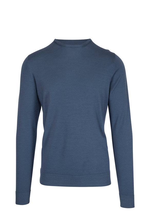 Sunspel Dark Petrol Fine Merino Wool Crew Sweater