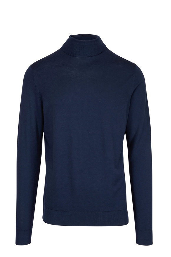 Sunspel Navy Fine Merino Wool Turtleneck Sweater