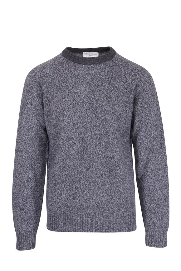 Officine Generale Lars Charcoal Gray Marled Crewneck Sweater