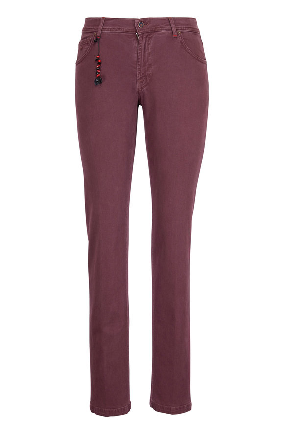 Marco Pescarolo Burgundy Cotton & Cashmere Twill Pant