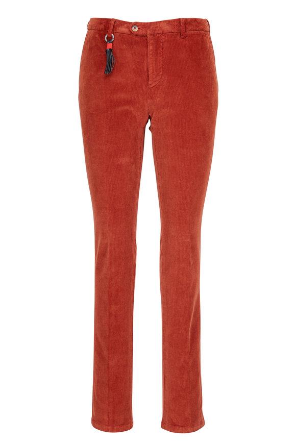Marco Pescarolo Red Flat Front Corduroy Pant