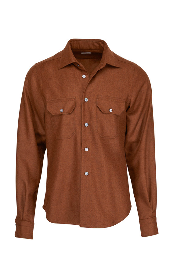 Kiton Solid Brown Cashmere Overshirt