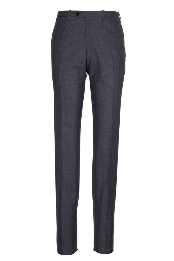 Kiton Solid Charcoal Grey Wool Pant