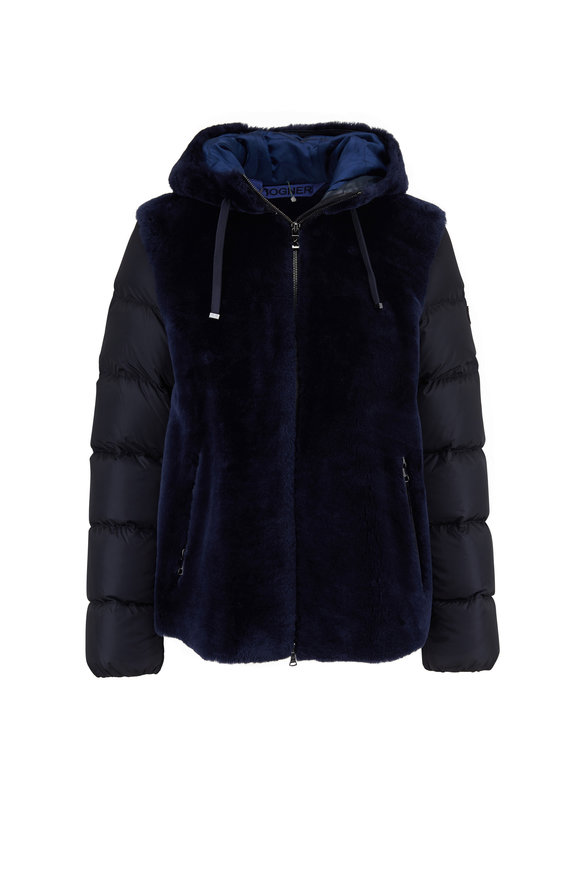 Bogner Tizia Navy Shearling & Down Puffer Coat