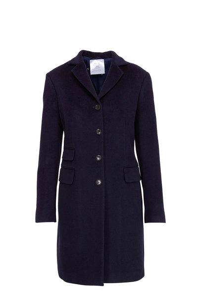Kiton - Navy Angora & Fleece Long Coat