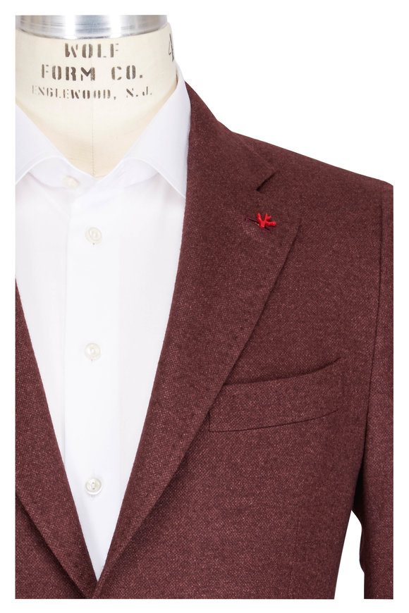 Isaia Solid Burgundy Silk & Cashmere Sportcoat