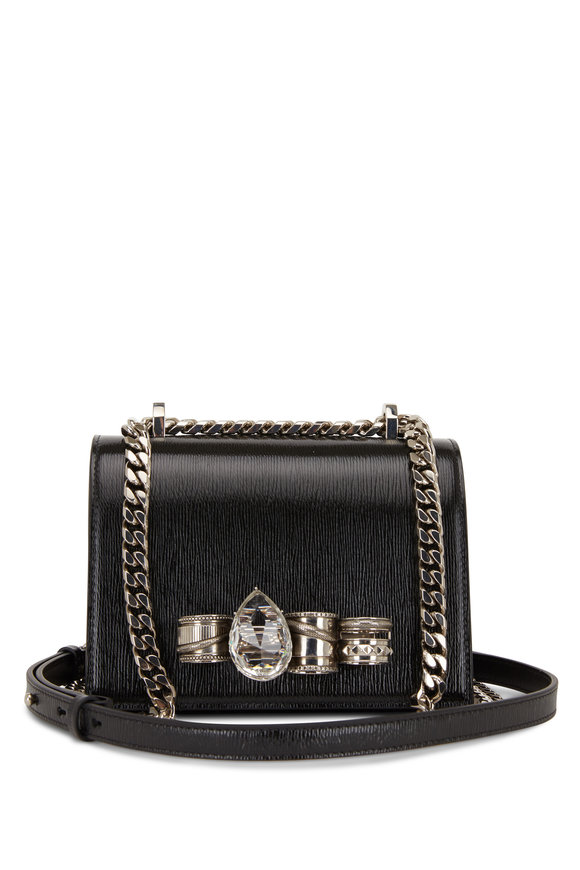 Alexander McQueen Black Textured Leather Jeweled Knuckle Bag