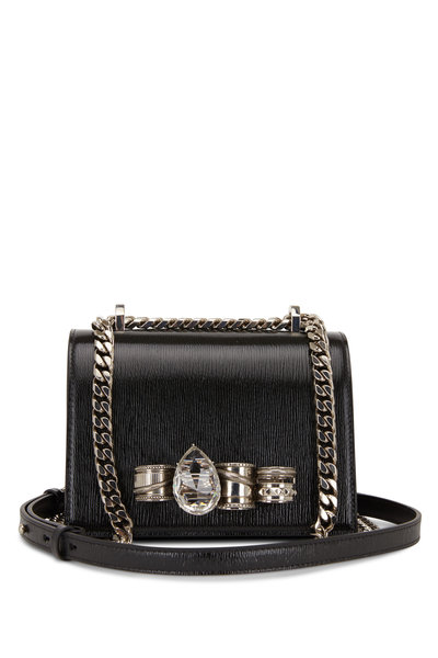 Alexander McQueen - Black Textured Leather Jeweled Knuckle Bag