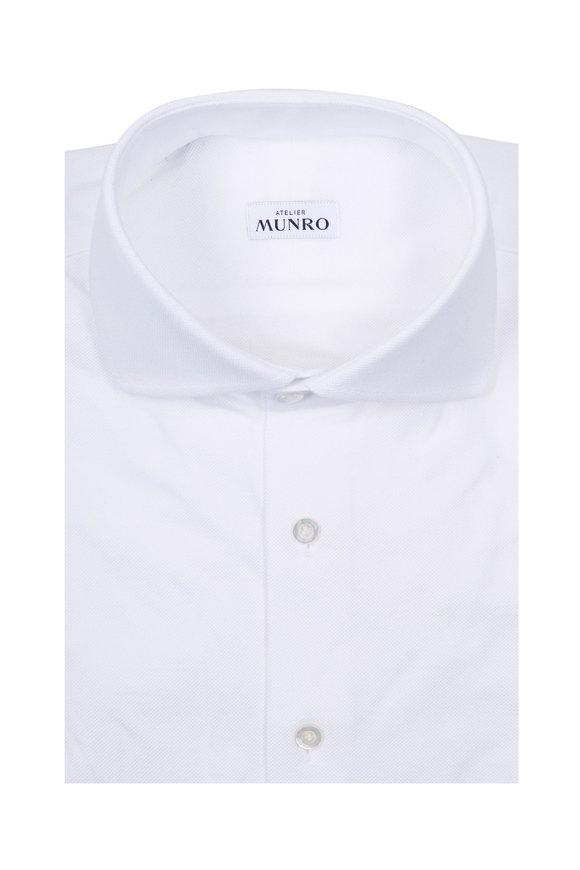 Atelier Munro White Piqué Knit Sport Shirt