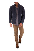 Tintoria - Navy Blue & Brown Check Contemporary Sport Shirt