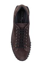 Salvatore Ferragamo - Cube Lead Gray Suede Logo Print Sneaker