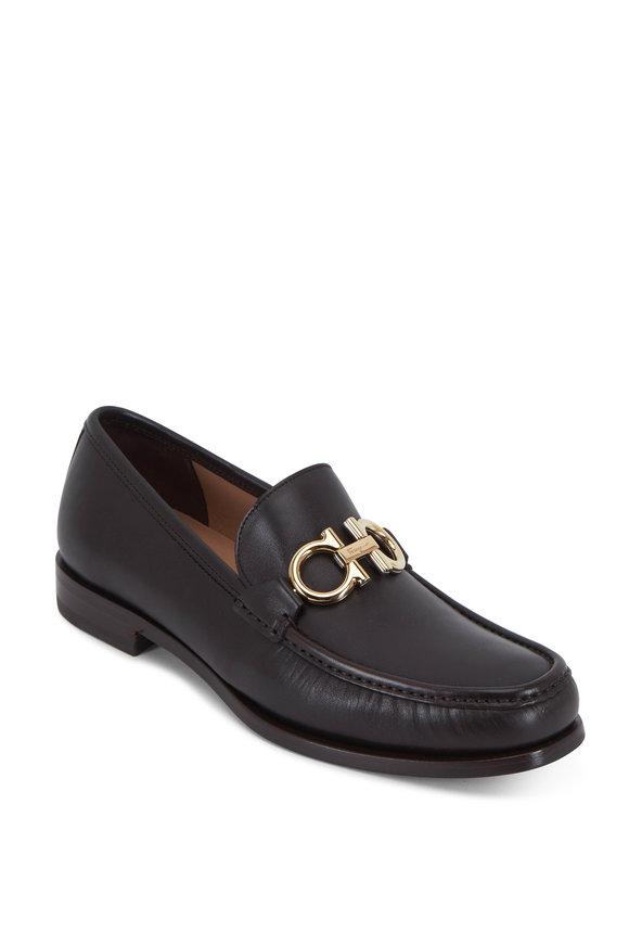 Salvatore Ferragamo Rolo Carob Brown Leather Bit Loafer