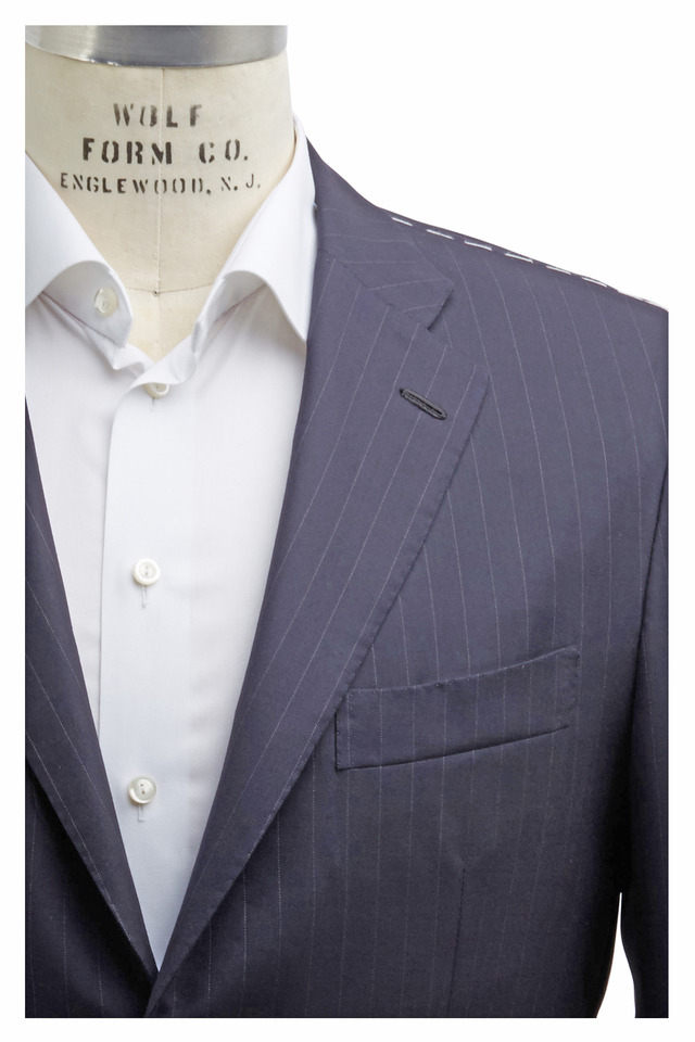 Basic Navy Blue Striped Wool Suit