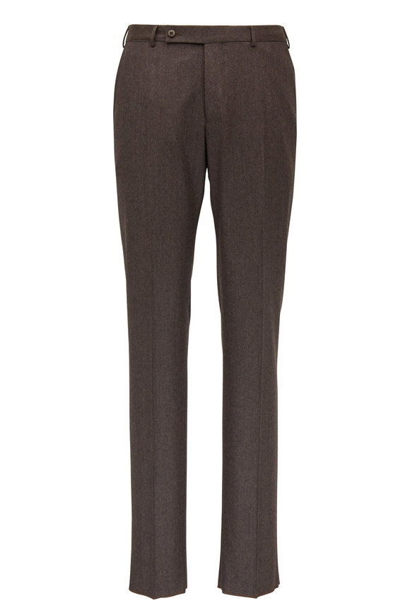 Ermenegildo Zegna  Brown Flannel Regular Fit Pant