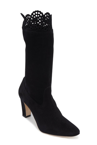 Manolo Blahnik - Afaphilo Black Stretch Suede Scallop Boot, 70mm
