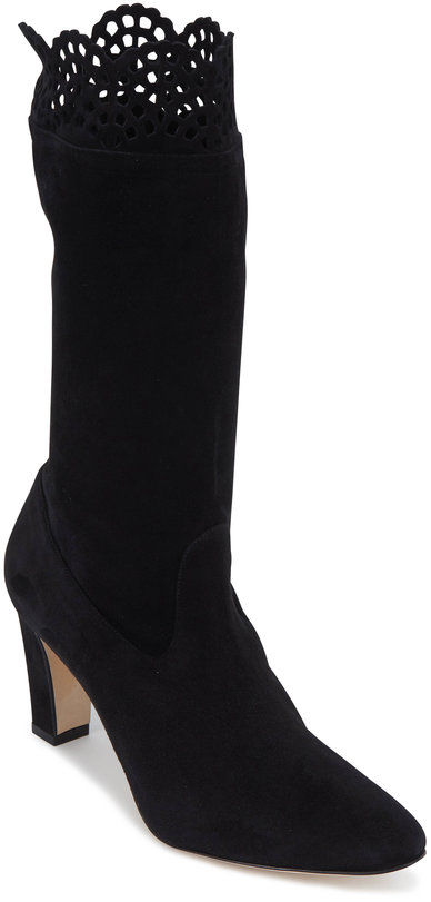 Manolo Blahnik Afaphilo Black Stretch Suede Scallop Boot, 70mm